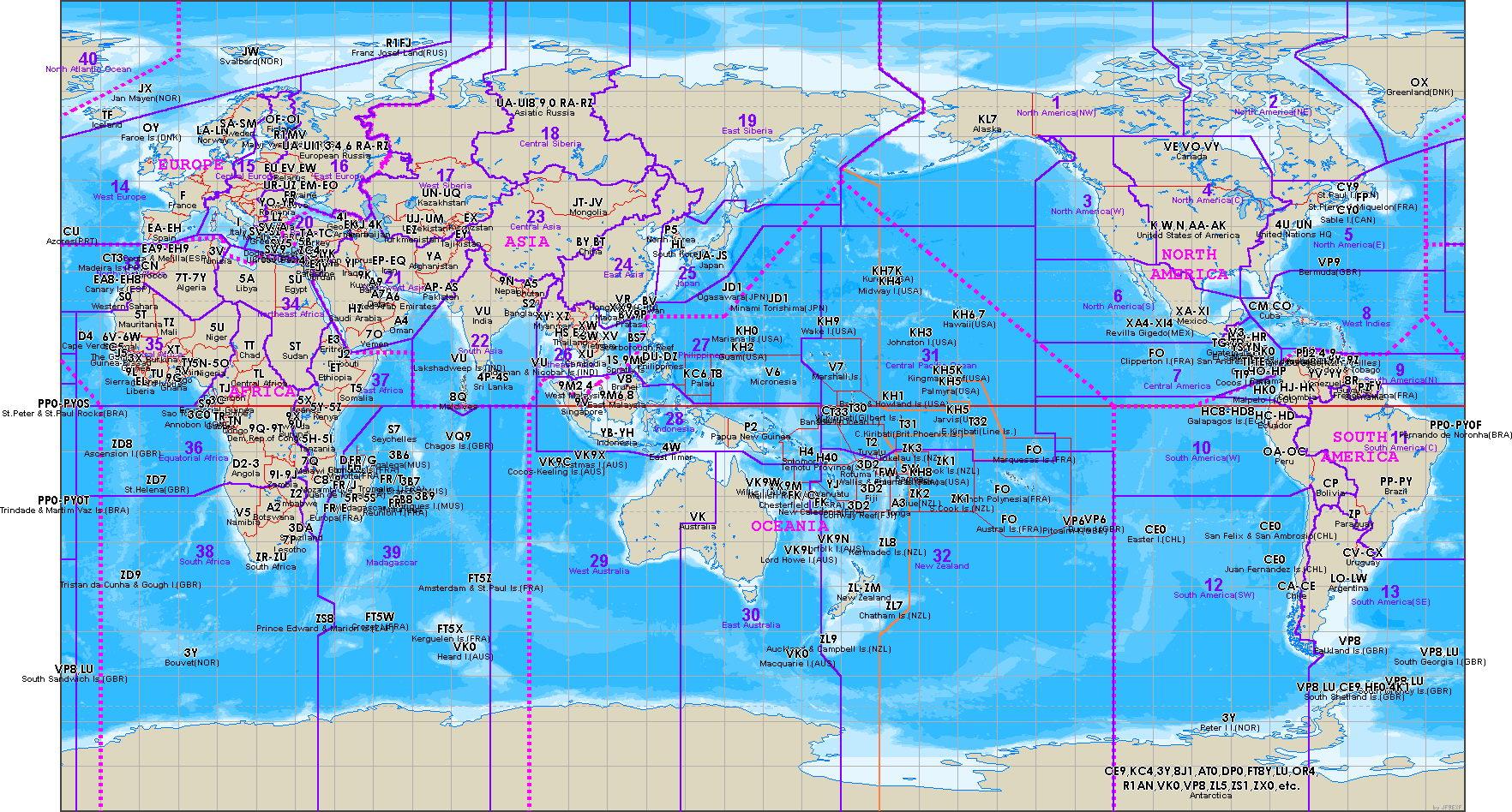 Map Of Callsign Prefixes For Computer Desktop Amateurradio - Us map of ham radio call sign prefixes